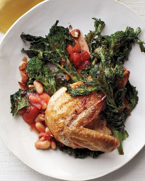 chicken with broccoli rabe tomatoes and beans