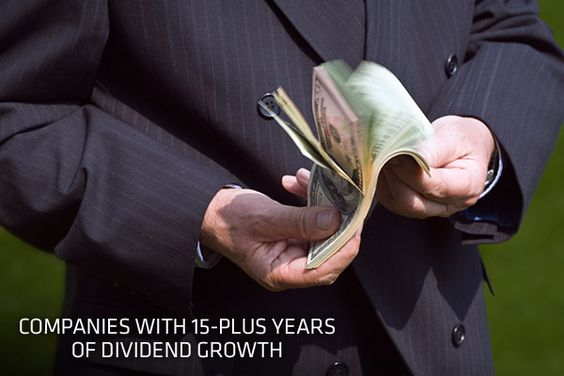 15-Plus Years of Dividend Growth  Investors are reassured — and companies consider it a point of pride — when executives note an uninterrupted track record for raising dividends. Dividend payments also offer investors a cushion on their investment, increasing the overall returns of the stock. Historically, dividend payments have accounted for more than 40 percent of the S&P 500's total returns.