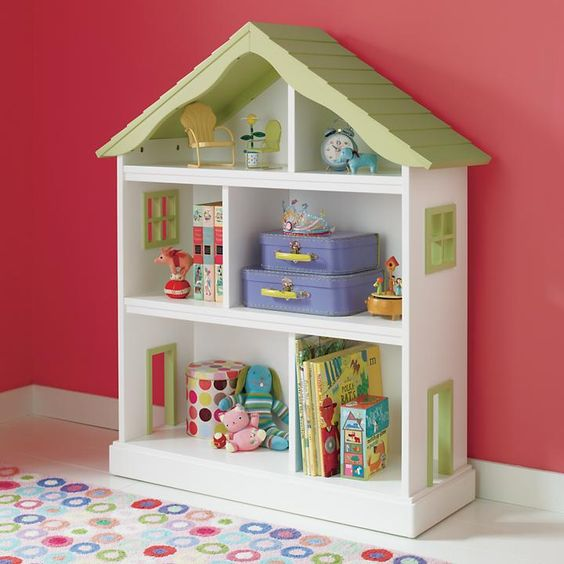 girls room dollhouse storage out of a bookcase.  OR use a bookcase to make an easy to play in dollhouse!