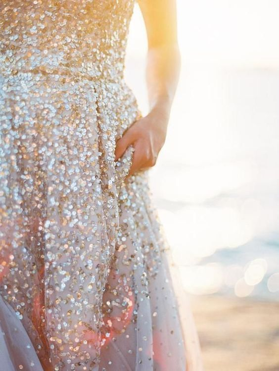 Sparkles on the beach. #destination #wedding: Sparkle Gown, Sparkle Dresses, Glitter Sparkle, Weddingdress, Wedding Dresses, Glitter Dress, Sequin Wedding Dress, Sparkly Dresses, Sequin Dress