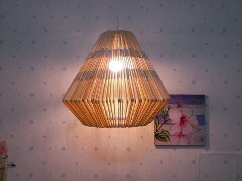 D I Y Lamp From Popsicle Sticks Hanging Youtube Wall Hanging Diy Hanging Pendant Lamp Hanging Lamp