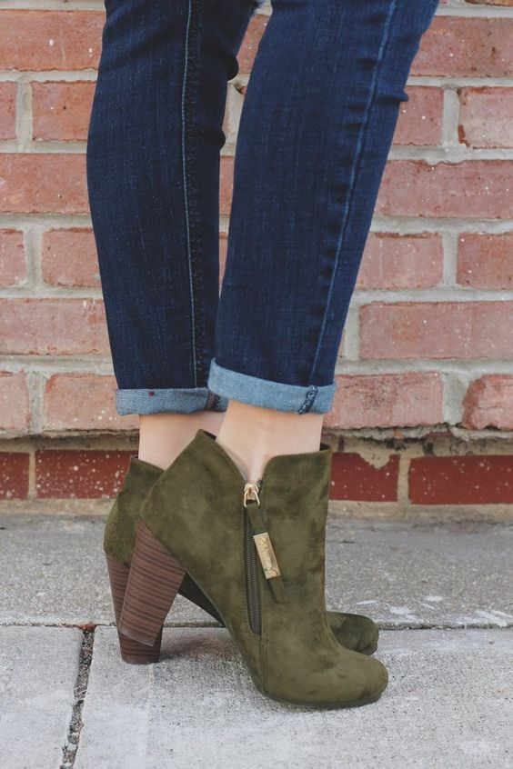 Olive Round Toe Zipper Accent Ankle Booties gina-31 – UOIOnline.com: Women's Clothing Boutique