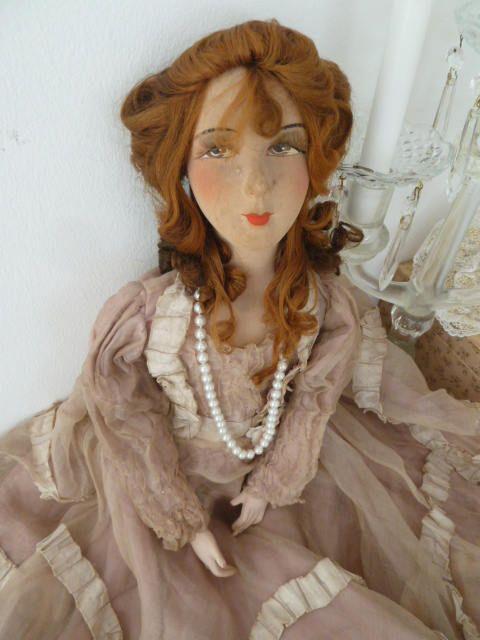 Antike Franzosische Boudoir Puppe Junges Madchen Sofapuppe Doll Altrosa Beige Edwardian Style Titanic Style Dekoration Boudoir Dolls Half Dolls Boudoir