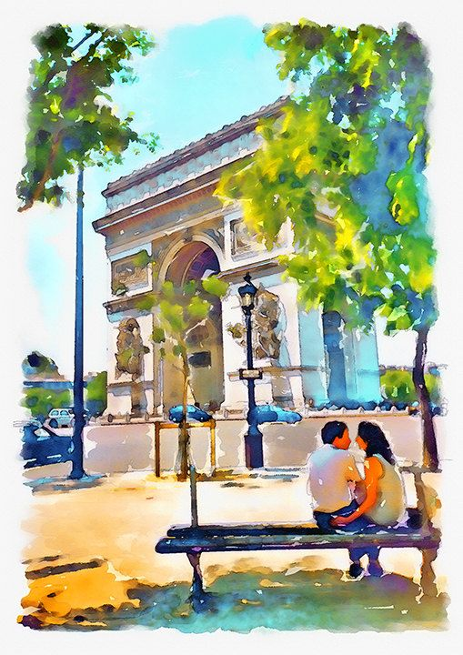 The Arch Of Triumph Instant Download Paris Watercolor Painting