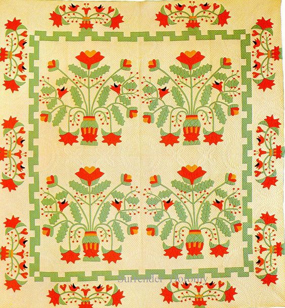 Pieced & Applique Quilt Pot Of Flowers 1930 by SurrendrDorothy, via Flickr