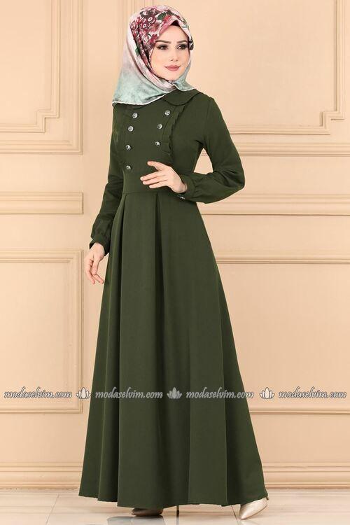 Modaselvim Elbise Aksesuar Dugmeli Elbise 139mc359 Haki Model Pakaian Muslim Pakaian Model Pakaian