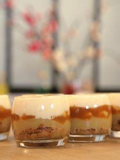 oeuf, pomme, spéculoos, sucre vanillé, compote, mascarpone, caramel au beurre salé, cannelle, sucre