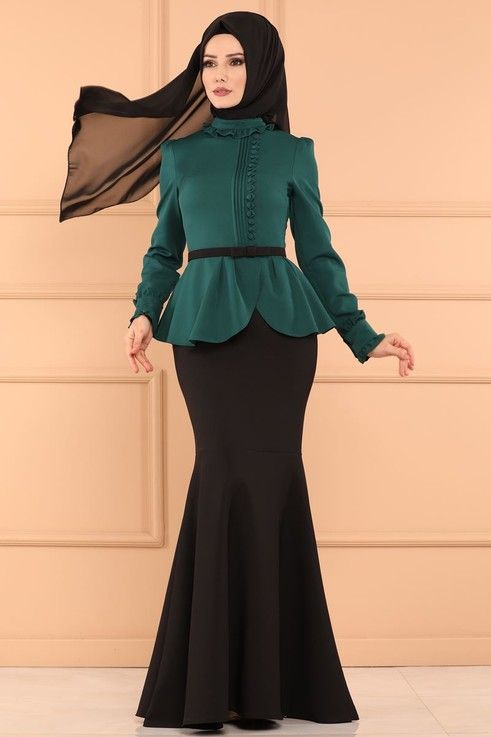 Modaselvim Abiye Cift Renkli Balik Abiye 5090ay342 Zumrut Modern Hijab Fashion Fashion Hijab Fashion