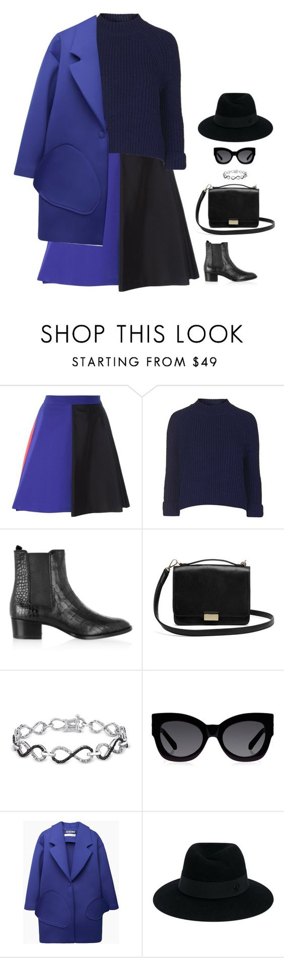 """#2816"" by azaliyan ❤ liked on Polyvore featuring MSGM, Topshop, Yves Saint Laurent, Lauren Merkin, Ice, Karen Walker, Jacquemus and Maison Michel"