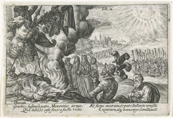 Crispijn van de Passe (I)   Verbranden van de doden, Crispijn van de Passe (I), 1612   Aeneas laat het lichaam en de wapens van Mezentius verbranden, als offer aan Mars. Treurende vrouwen kijken toe. Rechts op de achtergrond wordt het lichaam van Pallas naar zijn vader Evander gebracht. In de marge een vierregelig onderschrift, in twee kolommen, in het Latijn.