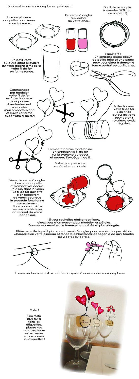 Réalisez des marque-places avec du fil de fer et du vernis à ongles  http://www.deco.fr/loisirs-creatifs/actualite-722351-creer-marque-places-fil-fer-vernis-ongles-dessin.html