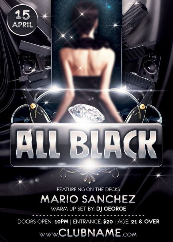 All Black Party Flyer Template is very modern flyer with glamour ...