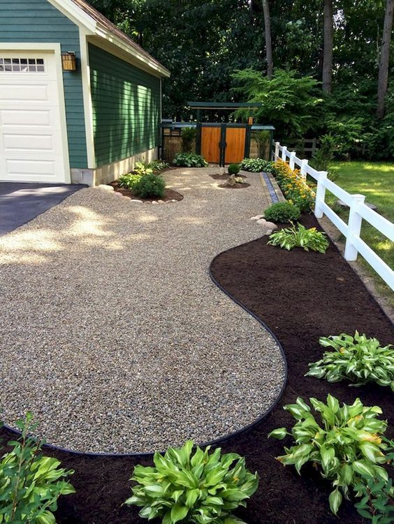 Landscaping Ideas With Mulch And Rocks At The Borders