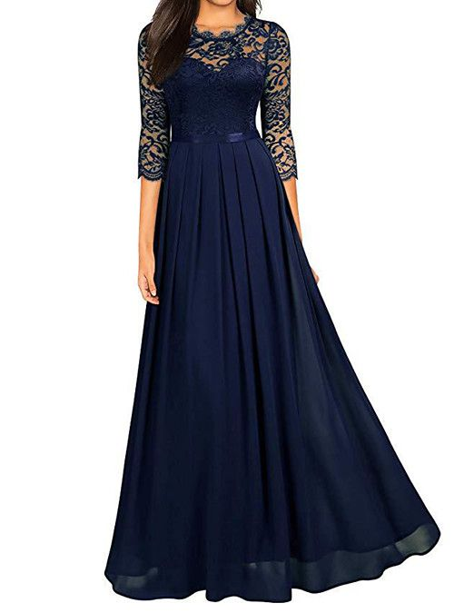 Women S Plus Size Cocktail Party New Year Birthday Elegant Maxi Swing Dress Floral Solid Color Lace Formal Style Wine Navy Blue Green S M L Xl 2021 Us 34 4