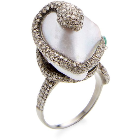 Azaara Fine Jewelry Pave Diamond, Fresh Water Pearl, & Emerald Ring ($1,495) ❤ liked on Polyvore featuring jewelry, rings, white, pave jewelry, wide rings, cultured pearl ring, snake ring and pave diamond jewelry