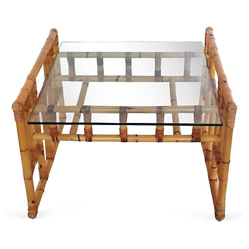 Glass &  Rattan Coffee Table