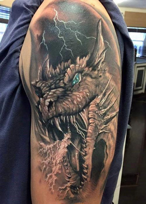 Badass Upper Arm Shoulder Dragon Tattoo Designs Best Dragon Tattoos Find Cool Dragon Tattoo Desig Dragon Head Tattoo Dragon Sleeve Tattoos Dragon Tattoo Arm