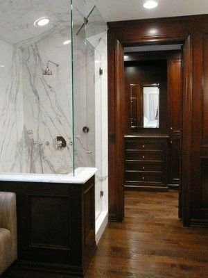 Wood Bathroom & Closet Floors #organizedliving #organizedcloset shower  faced with wood not tile outside