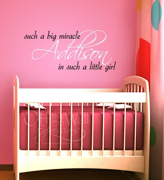 Personalized Miracle Girl large vinyl wall art decal, two color design, nursery decor on Etsy, $35.00