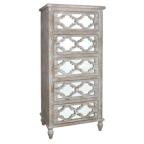 Hamlin Beach Mirrored 5 Drawer Cabinet