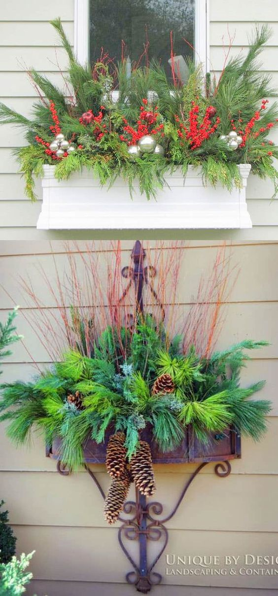 Addobbi Natalizi Balconi.How To Create Colorful Winter Outdoor Planters And Beautiful Christmas Planters With Plant C Fioriere Di Natale Decorazioni Natale All Aperto Natale All Aperto