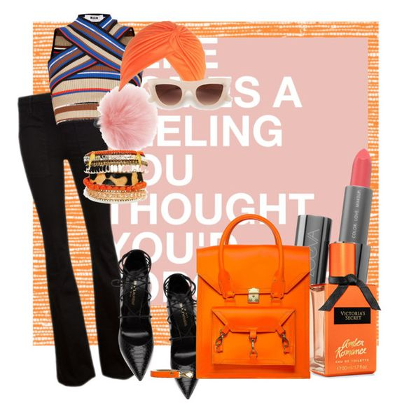 """""""Orange"""" by ardhinach ❤ liked on Polyvore featuring Thibaut, Frame Denim, Yves Saint Laurent and MSGM"""