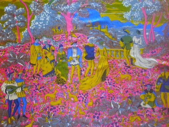 Vintage Vibrant Silk Scarf Renaissance Medival Castle Scene Lords/Ladies/Lutes
