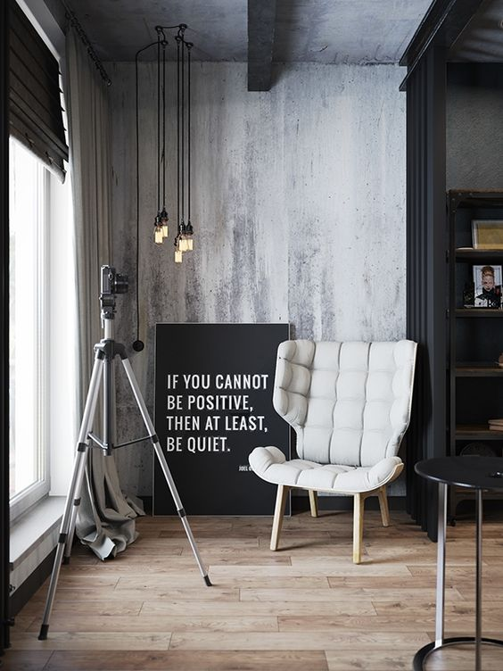 Dark and moody modern industrial apartment in Russia