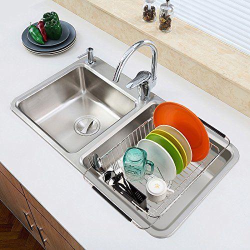 Amazon Com Ipegtop Adjustable Over The Sink Dish Drying Rack In