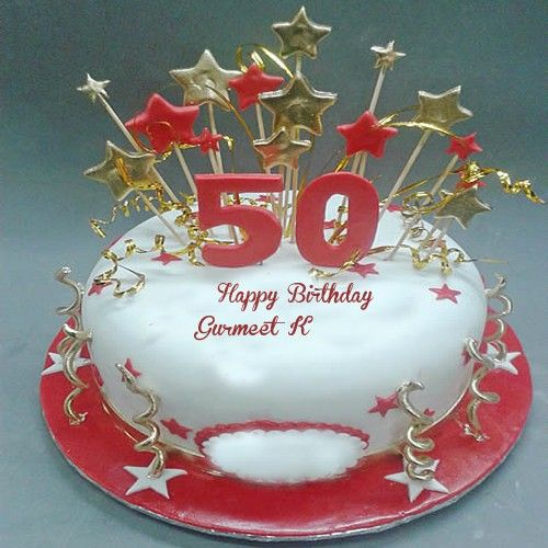 Write Name On 50th Happy Birthday Age Cakes Pictures Online Photo