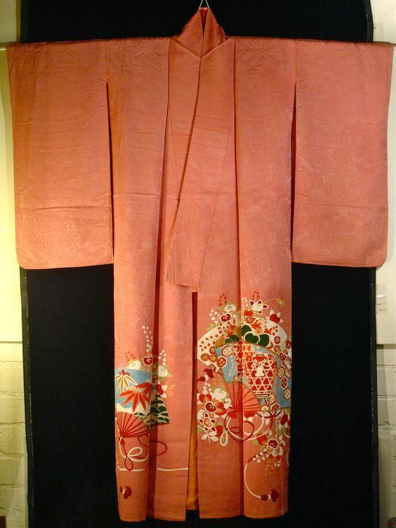 Antique Japanese Chirimen Kinsha Silk Kimono - Light Salmon Pink