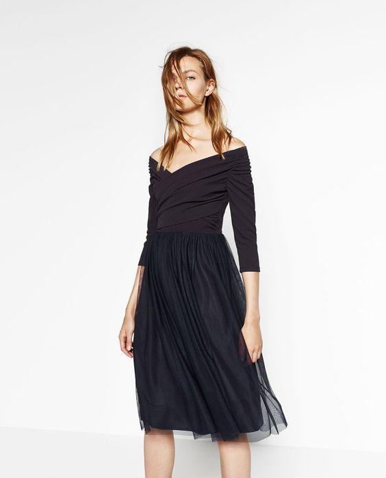 Image 2 de ROBE MI-LONGUE EN TULLE de Zara