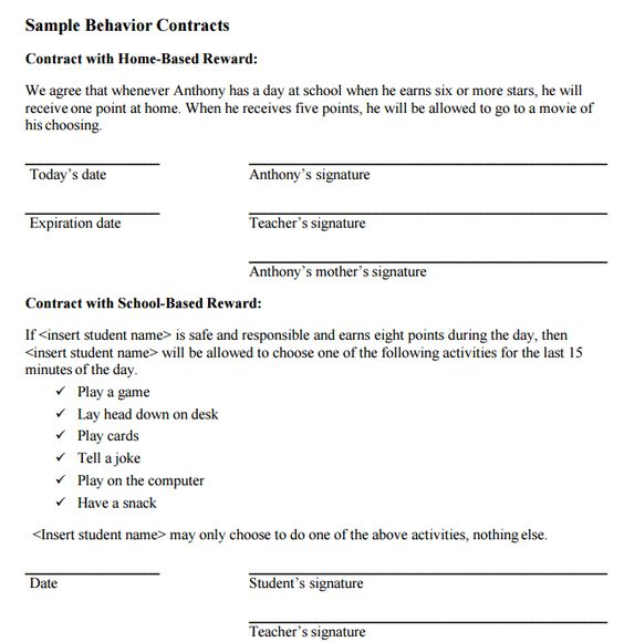 Sample Behavior Contract Printable Boys Contract Behavioral Chart