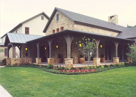 Modern hill country design great porch house plans for Modern homes with wrap around porches