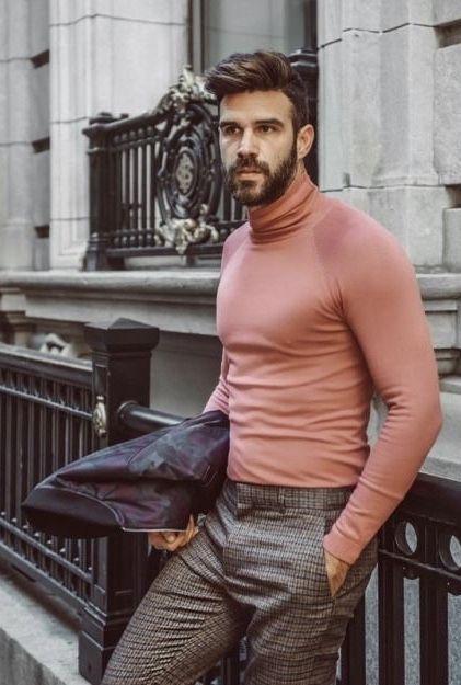 Fall Fashion Inspiration With A Pink Turtleneck Brown Plaid Pants Black Bomber Jacket Mod Mens Fashion Smart Mens Fashion Classy