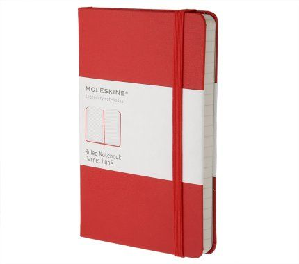 Red Moleskine Notebook - Pocket lined  I've used these for years - the size is perfect, the pocket at the back holds business cards and the colour means I can spot it in my bag.    I photograph meeting notes, add them to Evernote and the software reads my handwriting to make the notes searchable