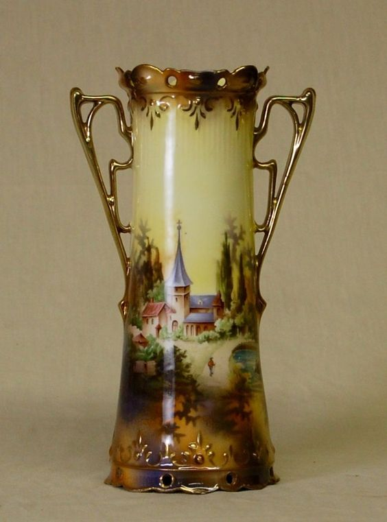 Antique Victorian Landscape Hand Painted RS Prussia Porcelain Vase Vibrant Color #Victorian #RSPrussia