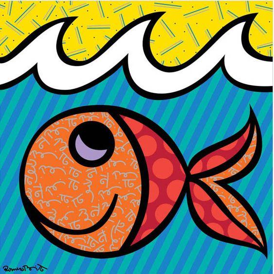 Boomfish romero britto riscos bete pinterest peixe for Pinterest obras de arte