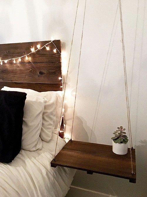 Rustic Headboard Hanging Side Table Frugelegance Www Frugelegance Com Rustichomedecorita Rustic Headboard Table Decor Living Room Inexpensive Home Decor