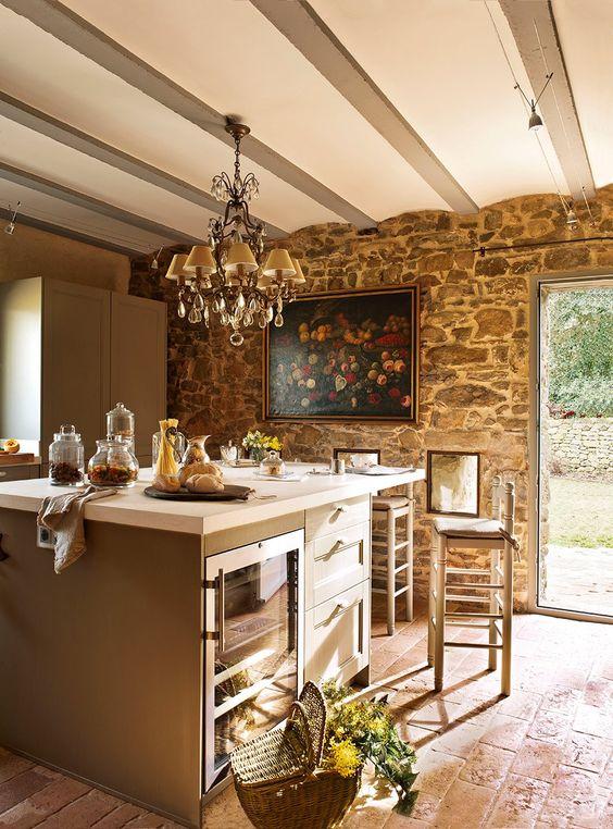Una casa r stica con toques de estilo franc s elmueble - Cocinas rusticas de campo ...