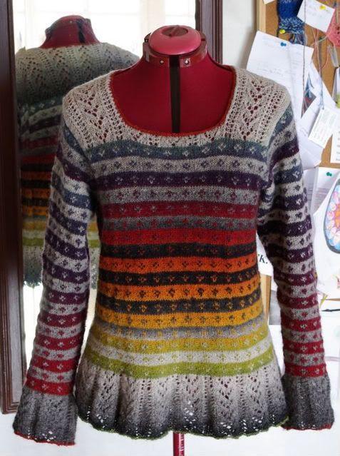 "mama spinnt - knitting pattern ""Autumn Rose"" aus ""Simply Shetland 4"" - a bit modified"