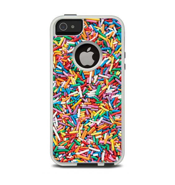 The Colorful Candy Sprinkles Apple iPhone 5-5s Otterbox Commuter Case Skin Set