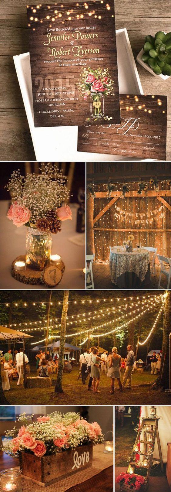 Wedding decoration ideas at church  spring flower mason jar string lights rustic invitations EWI