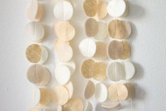 Felt circles garland in eggshell ecru and white 6 ft--kinda fun