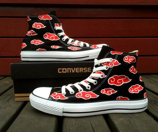 These custom design Converse Shoes feature the classic Naruto's Akatsuki's wardrobe red could. The artist also has a HUGE variety of designs, all in amazing detail and are available in both men and womens.