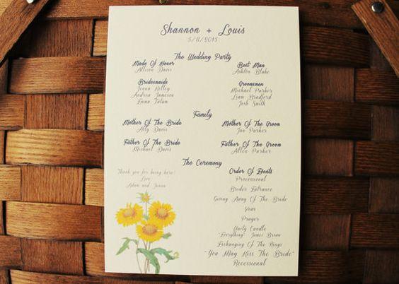 Sunflower Wedding Program Sunflower Wedding Invitation Collection Vintage Wedding Theme Yellow Sunflower Printable Or Ship on Etsy, $30.00