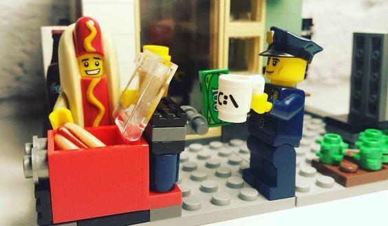 Hot dog vendor  #legoart #lego #legofunny #legophotography #legominifigures #legoland #legos #legocollection #legomania #legocity #hotdog #streetfood #eat #food #panini #cibo #chiosco #break #legophoto #istagram #legopic #legostagram #legoclub by legophotostory2k