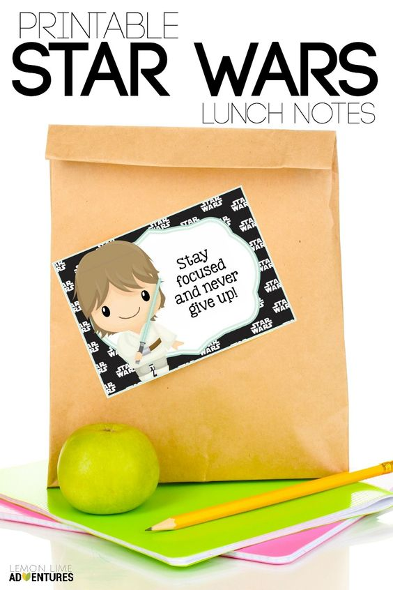 Printable Star Wars Lunch Notes to slip into child's lunchbox!: