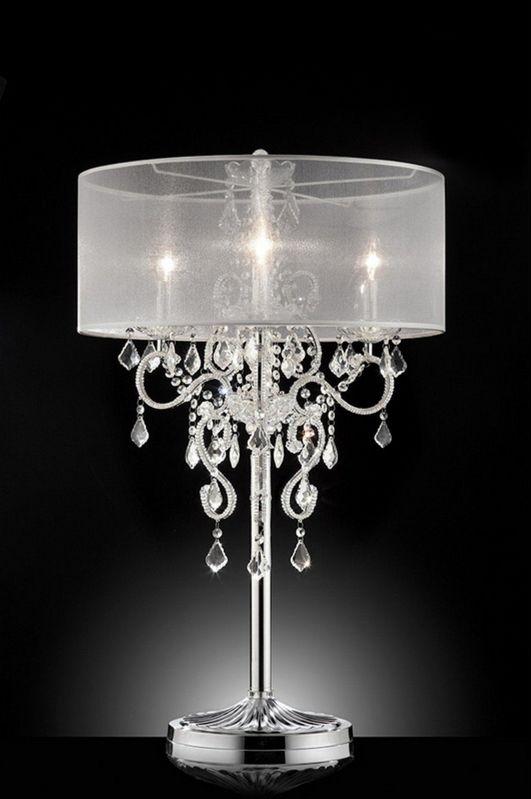 Ore International Evangelia Crystal Table Lamp Silver Crystal Table Lamps Crystal Lamp Silver Table Lamps