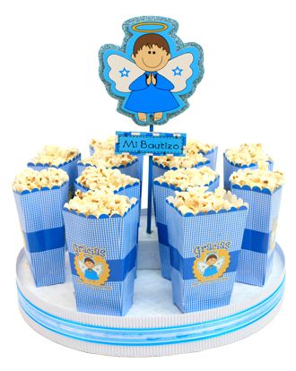 Despachador de palomitas en color azul decoraci n para for Mesa de dulces para baby shower nino
